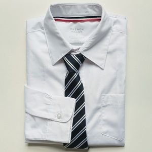 Bundle Children's Place White Dress Shirt Navy Tie